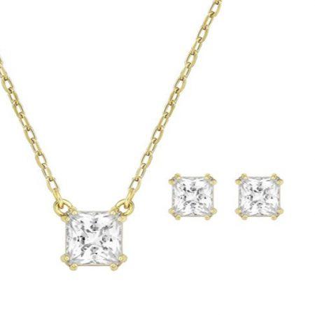 Attractset vierkant goud Swarovski